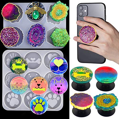 Mity rain Phone Grip Mold Epoxy Resin On Top Kits, 15 Cavity Silicone Irregular Round Mount Holder Stand Molds with 10Pcs Phone Sockets for DIY Jewelry Making Supplies