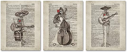 SUMGAR Vintage Wall Art Mexican Day of The Dead Skull Decor Music Posters Dictionary Unframed Prints Artwork Set of 3,8x10 inch