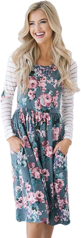 Dress for Women,Plus Size Female Vintage Print Floral Striped High Waist Boho Dress Autumn Long Sleeve Pocket Party Dresses