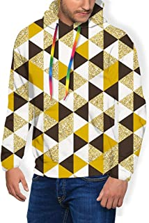 GULTMEE Men's Hoodies Sweatershirt, Triangles Pattern in Different Color Shades Graphic Illustration,5 Size