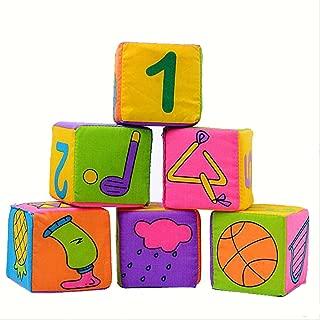 6Pcs/Set Soft Cloth Rattle Building Blocks Toys Educational IQ Development Toy Cube Set Baby Kids Comforters Mumustar