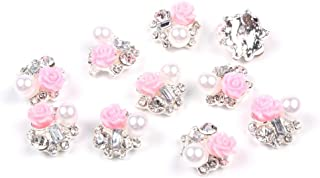 So Beauty 10 Pieces 3D Nail Art with Rhinestone and Artificial Pearl Slices Glitters DIY Decorations