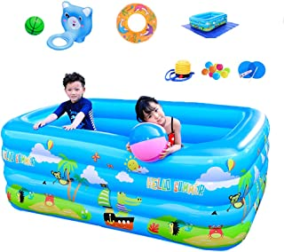 ZEIYUQI En La Tierra De Ourdoor Inflable Alberca para Niños Plegable PVC Grueso Juego De Agua Big Fun Family Pool con Diapositivas