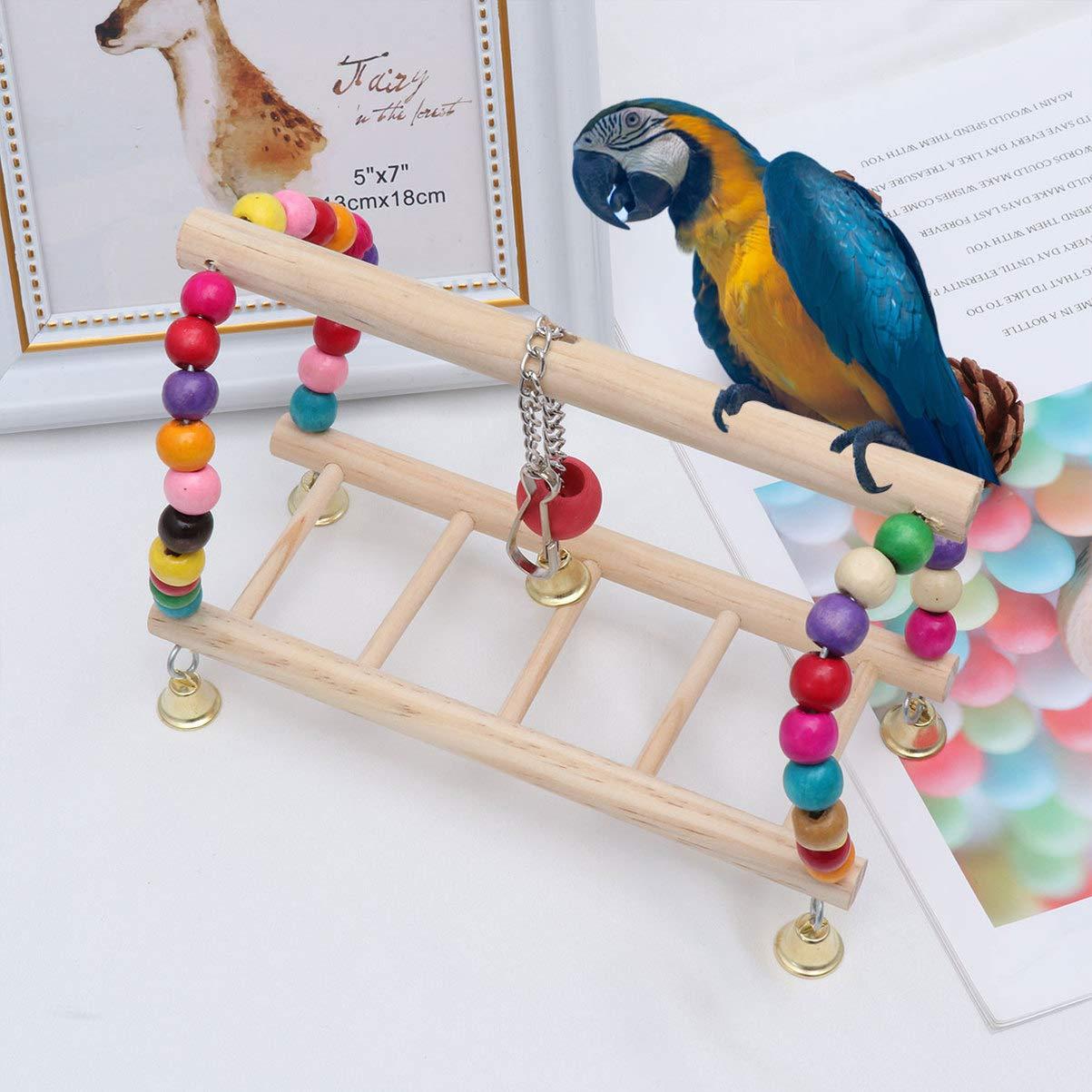 POPETPOP Juguete Loro pájaro - Columpio Columpio pájaro - Escalera Loro Jaula para pájaros Juego de Juguete masticable - Escalera Colgante de Madera Juguete para pájaros cacatúa cacatúa agapornis: Amazon.es: Productos para mascotas