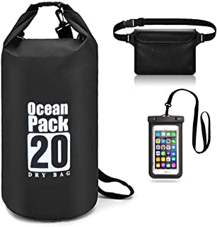 WONWEI Floating Waterproof Dry Bags Set of 3-20L Roll Top Dry Compression Sack with 2 Adjustable Detachable Shoulder Strap, Waist Pouch & Phone Case Perfect for Swimming, Camping