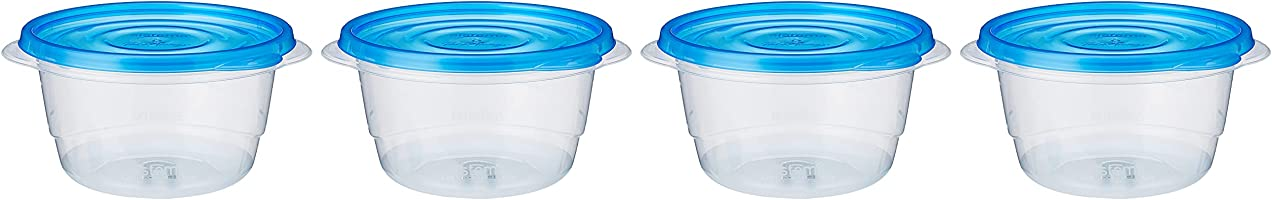Sistema Takealongs 760ml Small Bowl 4 Pack Food Storage Containers, Clear with Blue Lid, 760 ml