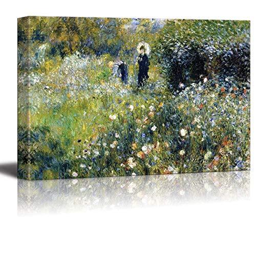 N\A Mujer con sombrilla en un jardín por Pierre-Auguste Renoir - Cuadro en Lienzo Arte de la Pared Pintura Famosa Reproducción
