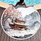 Toalla de Playa Redonda de Secado rápido con Estampado de árbol de Arce Rojo de montaña de la casa Japonesa Vintage con borlas Tapiz de Playa con Flecos Lindo Blanco 59 Pulgadas-bl
