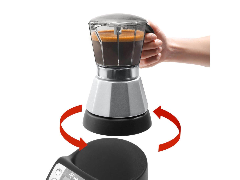 DeLonghi EMKP42.B Alicia PLUS - Cafetera Moka Eléctrica, 450 W, 2-4 Tazas, Plástico, Negro/Plata: Amazon.es: Hogar