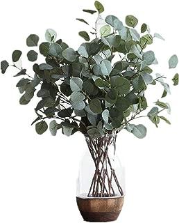 Nerseki Artificial Silver Dollar Eucalyptus Leaf Spray in Green Leaves Indoor Outside Home Garden Office Wedding Décor(3 Stems)