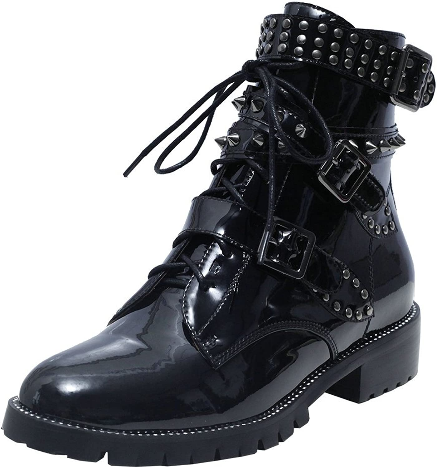 AnMengXinLing Fashion Ankle Boots Women Studded Buckle Low Block Heel Rubber Sole Motorcycle Booties Patent Leather Round Toe