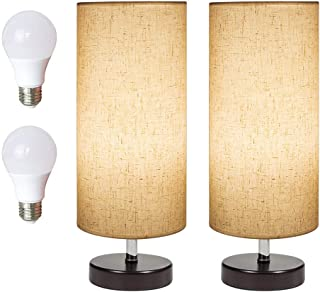 DEEPLITE Bedside Table Lamp 2 LED Bulbs Included, Modern Simple Desk Lamp with Wooden Base and Fabric Shade, Minimalist Nightstand Lamp for Bedroom Living Room Office (Set of 2)