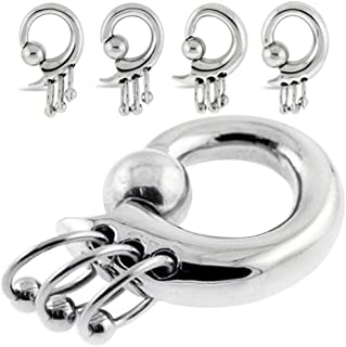 MoDTanOiz - Flesh tunnels (1 Pair) 3mm - 12mm Ear gauges Plugs Weight Steel Ball Closure Dangle Captive Bead Ring