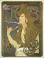 絵画風 壁紙ポスター (はがせるシール式) アルフォンス・ミュシャ ジョブ 1896年 アールヌーヴォー キャラクロ K-MCH-056S2 (457mm×594mm) 建築用壁紙+耐候性塗料