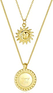 Olrla Yellow Gold Sterling Silver Double Layered Pendant Necklace 13'' and 17'' for Women Girls Ladies, Fashion Jewelry, G...