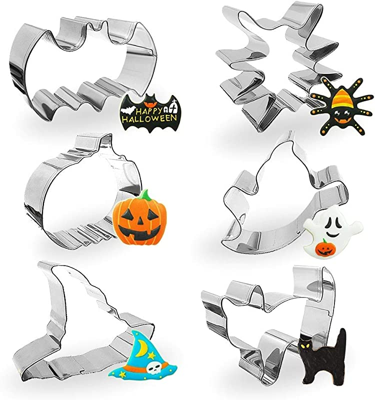 Yosager Halloween Cookie Cutter Stainless Steel Mold Baking Tools 6 Piece Set Including Stainless Steel Bat Spider Pumpkin Ghost Cat And Witch Hat