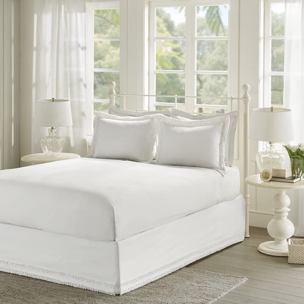 Sale item Ruffled White Sheet Set Cottage Queen Country Sheets New Shipping Free Shipping Bed