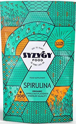SYZYGY FOOD | Espirulina Ecológica Certificada | 300 comprimidos de 500mg | Máxima pureza 99% BIO Spirulina | DETOX - Vegano - Proteína Vegetal - Saciante | Control Apetito - Hierro - Minerales