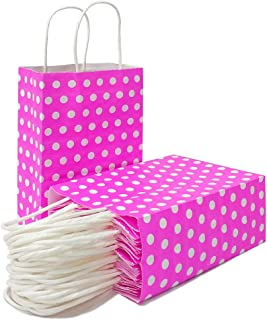 Polka Dot Gift Bags Pink Kraft Paper Bags with Handles for Party Favors Supplies by ADIDO EVA(8.2 x 6 x 3.1 in 25 PCS Hot Pink)