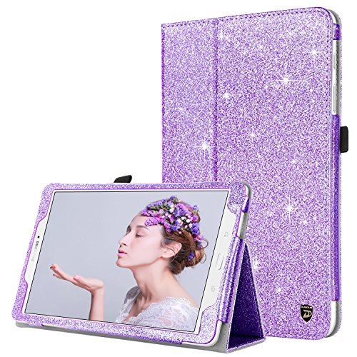 DUEDUE Samsung Galaxy Tab E 9.6, Sparkly Glitter Slim Faux Leather Folio Stand Full Body Protective Case for Galaxy Tab E Wi-Fi/Tab E Nook 9.6 Inch Tablet Verizon 4G LTE Version, Purple