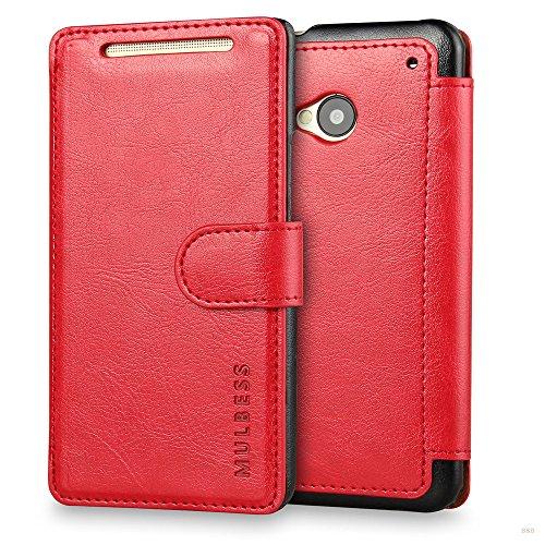 Mulbess Handyhülle für HTC One M7 Hülle Leder, HTC One M7 Handy Hüllen, Layered Flip Handytasche Schutzhülle für HTC One M7 Case, Wein Rot