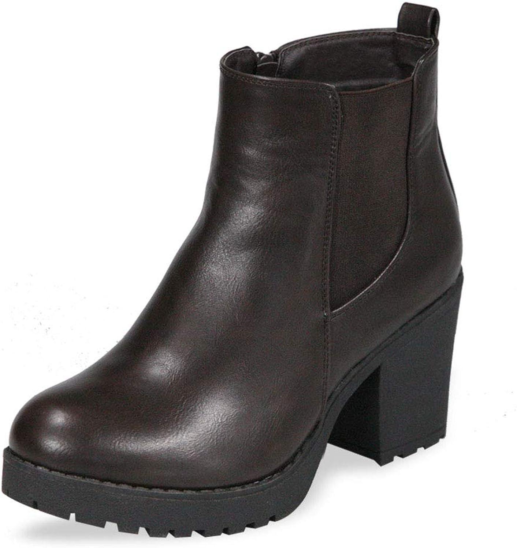 ShoBeautiful Women's Block Chunky Heel Ankle Booties Slip on Platform Boots Zipper up High Heel Chelsea Boots