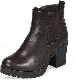 Women's Block Chunky Heel Ankle Booties Slip on Platform Boots Zipper up High Heel Chelsea Boots