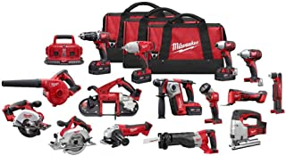 Milwaukee M18 18-Volt Lithium-Ion Cordless Combo Tool Kit (15-Tool) with (4) 4.0Ah Batteries, (1) 6-Port Charger, (3) Tool Bags