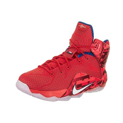 5e0d2739400 NIKE Kids Lebron XII (GS) Lt Crmsn White Brght Crmsn Basketball Shoe