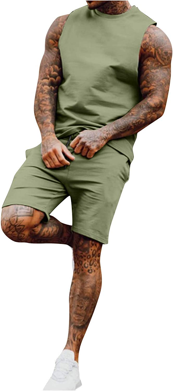 Tracksuit for Men Set 2 Piece Set Outfit Beach Sleeveless Shirts Tank Tops & Shorts Pants Sets Casual Sport Set
