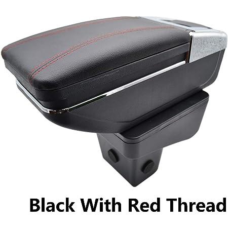 Zweilagige Schwarze Leder Armlehne Für Vitara 2015 2016 2017 2018 2019 Mittelkonsole Aufbewahrungsbox Armlehne Black With Red Thread Auto