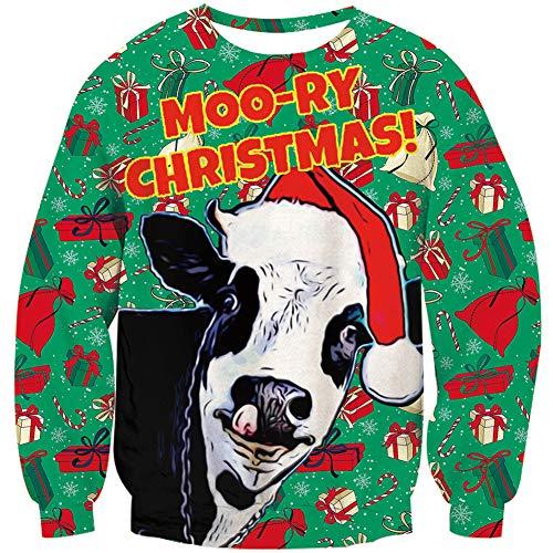 Loveternal Ugly Christmas Sweater Herren 3D Druck Hässliche Cow Weihnachtspullover Langarm Xmas Pullover Kuh Jumper XL