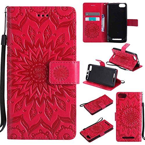 pinlu PU Leder Tasche Etui Schutzhülle für Wiko Lenny 3 (5 Zoll) Lederhülle Schale Flip Cover Tasche mit Standfunktion Sonnenblume Muster Hülle (Rot)