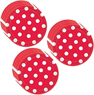 Unique Red Polka Dot Party Dessert Plates - 24 Guests