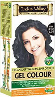 Indus Valley Gel Hair Color With 0% PPD, Ammonia, Hydrogen Peroxide, Barium With Refreshing Orange Aroma & 9 Herbs Ingredients Gives Damage Free Dark Shiny Color In Just 30 Minutes (Upto 4 Applications Dark Brown 3.0)
