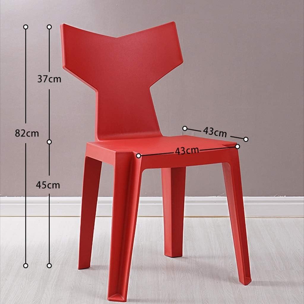 Chaise de salle à manger simple et moderne à la maison, dossier, tabouret, créative, chaise en queue de poisson, chaise de loisirs (Color : Red) Red