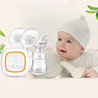 Double Electric Breast Pump, Portable Silicone Breastfeeding Pump for Baby Feeding Milk Rechargeable 1200Mah Battery with ...