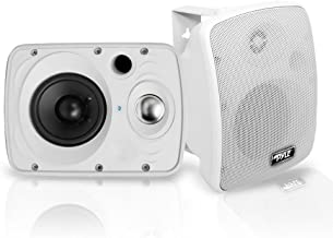 Outdoor Waterproof Wireless Bluetooth Speaker - 6.5 Inch Pair 2-Way Weatherproof Wall/Ceiling Mounted Dual Speakers w/Heavy Duty Grill, Universal Mount, Patio, Indoor Use - Pyle PDWR64BTW (White)
