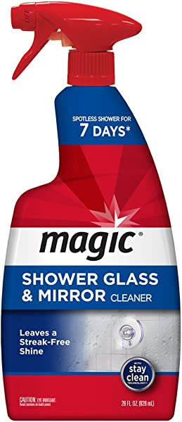 Magic Shower Glass And Mirror Cleaner 28 Ounce Removes Soap Scum Mildew And Mold Get A Crystal Streak Less Shine
