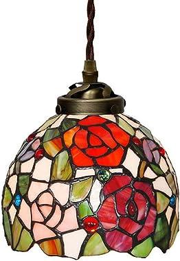 "Tiffany Ceiling Lamps 7"" European Pastoral Color Glass Handmade Rose Wedding Room Decoration lamp Tiffany Pendant lamp"