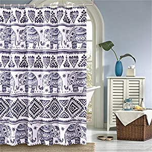 LANSHANQUE Elephant Shower Curtain with 12 Hooks Waterproof Machine Washable Decorative Bathroom Curtain 72X72 Inch