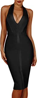 Beacher Zacharias Women Sexy Deep V Neck Halter Striped Evening Party Club Midi Bandage Dress
