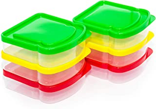 RubyPack-Sandwich Container-6 Pack-Durable Plastic Sandwich Box-Reusable Sandwich Containers with Lids-Small Lunch Box for Snacks-School Breakfast-Lunch Sandwich Holder-Sandwich Keeper Case for Kids