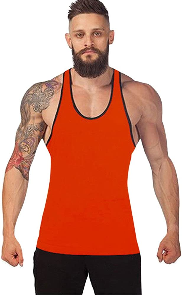 Gergeos Men's Gym Bodybuilding Stringer Tank Top Muscle Workout Shirt Fitness Sleeveless Sleeveless Shirt Vest