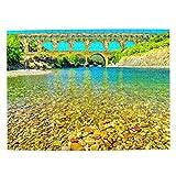 Francia Pont Du Gard Rompecabezas para Adultos, 500 Piezas de Madera, Regalo de Viaje, Recuerdo, 20.4 x 15 Pulgadas