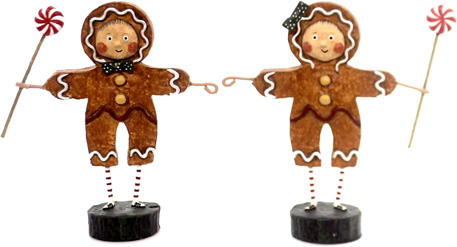 Lori Mitchell Gingerbread Boy and Girl Figurines - Set of Two