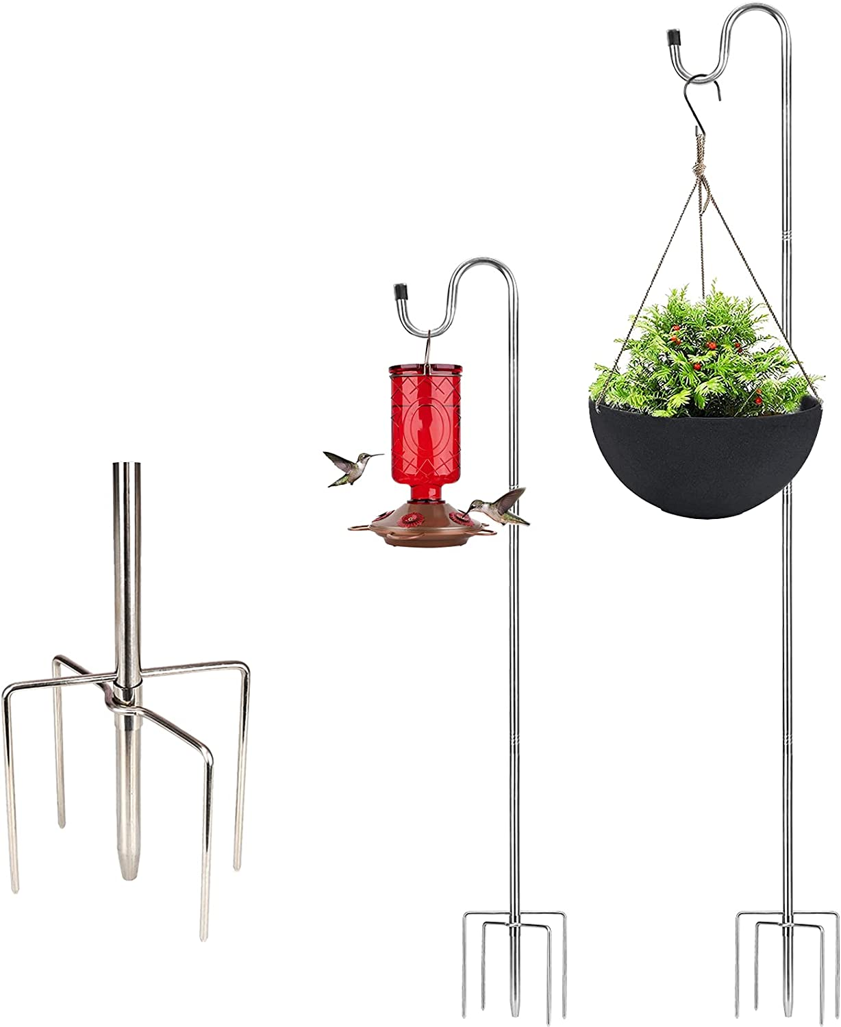 30 Inch Small Shepherds Hook, Bird Feeder Pole Stand with Hanger for Hanging Hummingbird Feeders, Plants, Outdoor String Lights, Sturdy with 5 Prong Base,Great for Garden Decoration