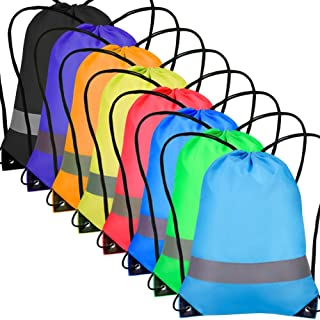 Selizo 8 Pack Drawstring Bags Bulk Reflective Sinch Sack Cinch Bags Backpacks for Picnic Gym Beach Travel