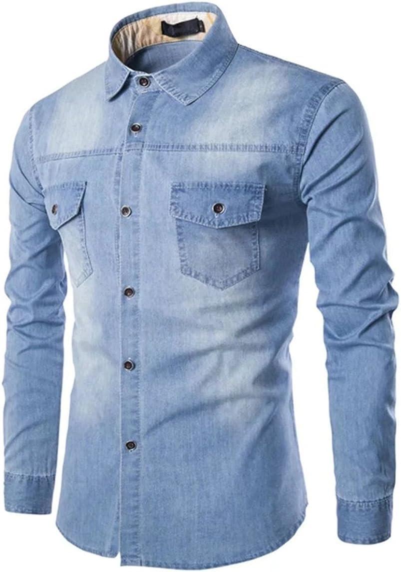 Mioubeila Albuquerque Mall Men's Long Shirt Denim Sleeve NEW before selling