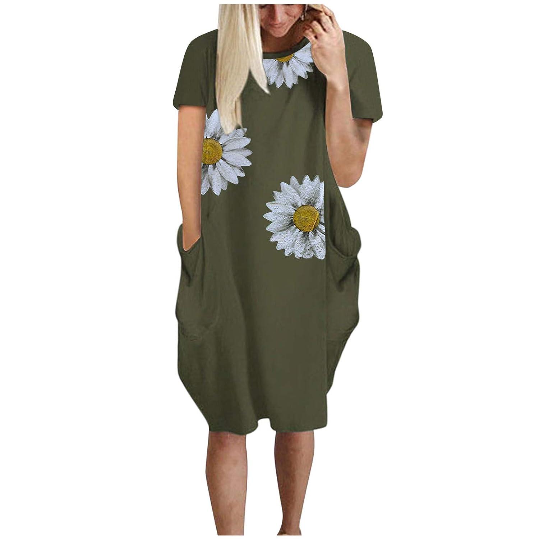 Women's Short Sleeve Pockets Casual Swing T-Shirt Dresses Sunflower Print Casual Loose Mini Dress Pockets